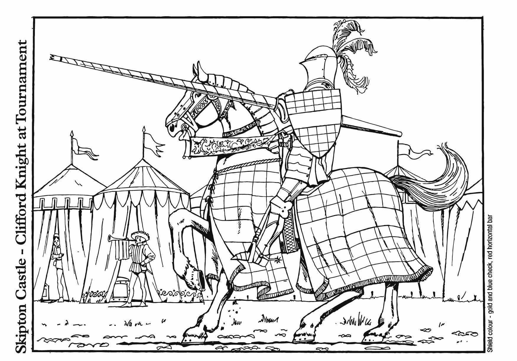 kleurplaat ridder op toernooi afb 18741