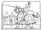 Kleurplaat ridder op toernooi