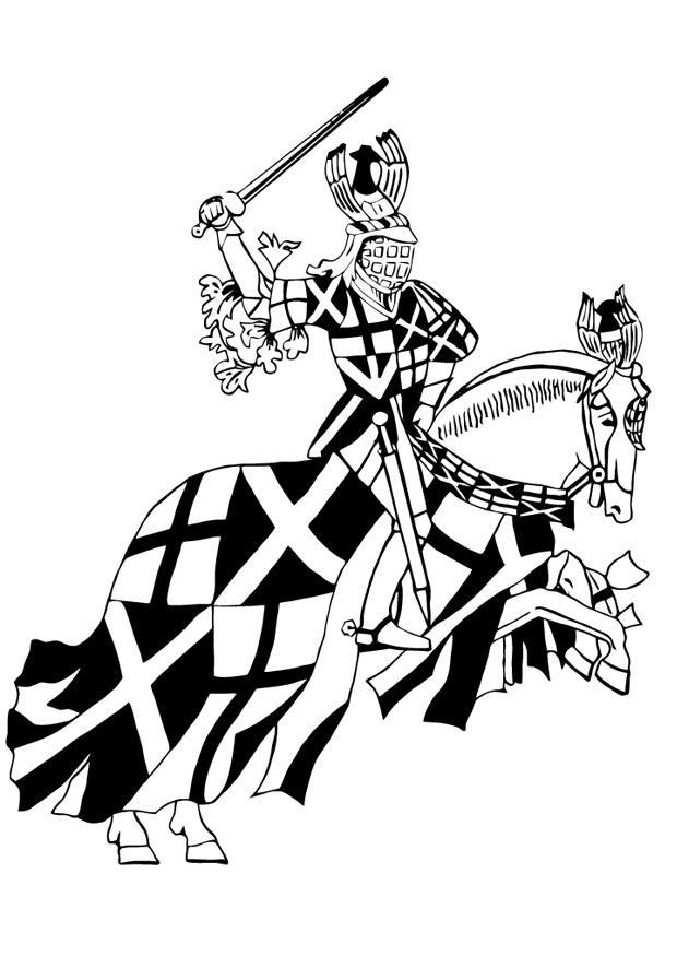 Kleurplaat Ridder Te Paard Afb 13252