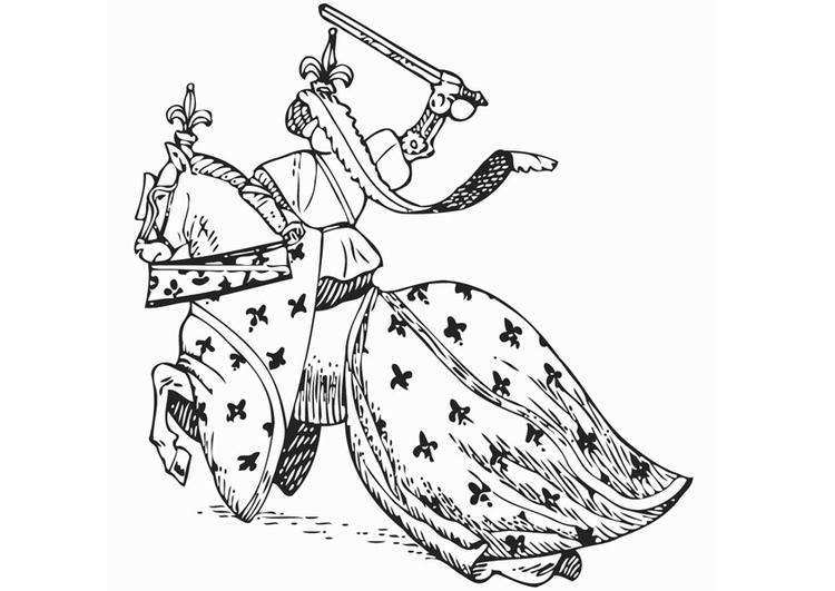 Kleurplaat Ridder Te Paard Afb 12894
