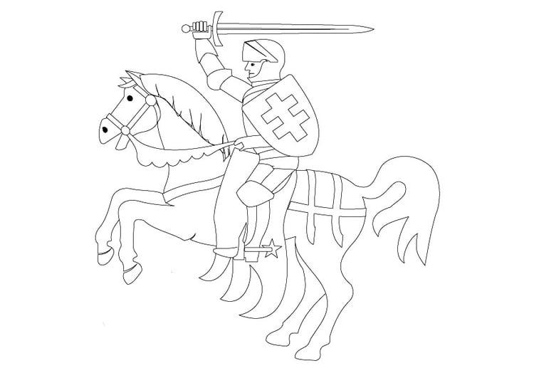 kleurplaat ridder te paard afb 9840