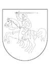 Kleurplaat ridder te paard in schild