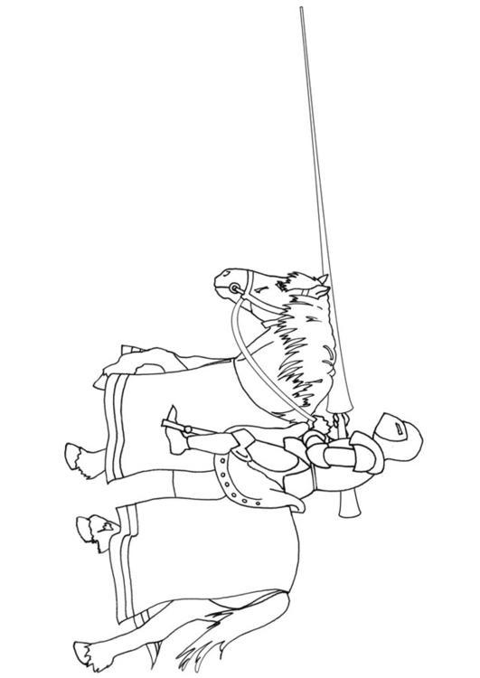 kleurplaat ridder te paard afb 9864