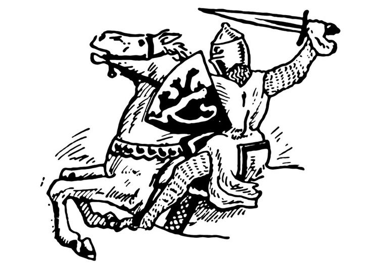 Kleurplaat Ridder Valt Aan Afb 13257