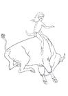 Kleurplaat rodeo op bizon