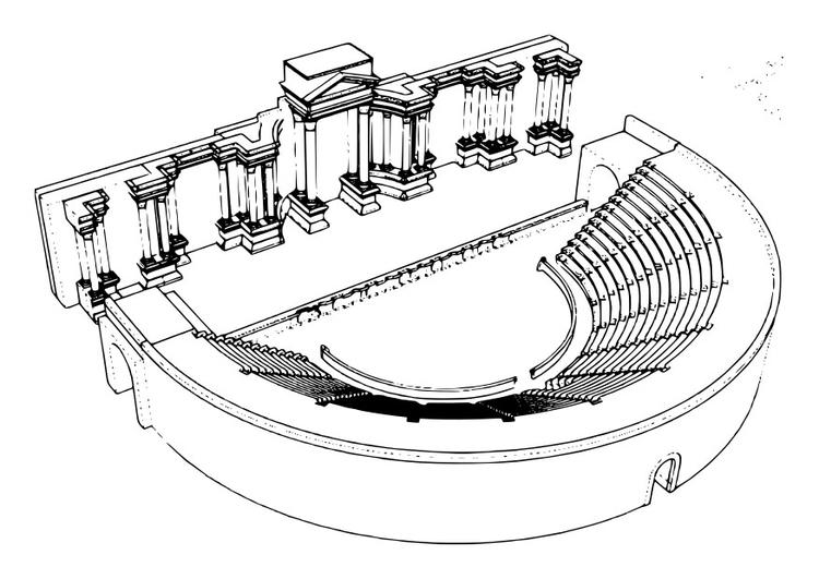 Kleurplaat Romeins Theater Afb 29746