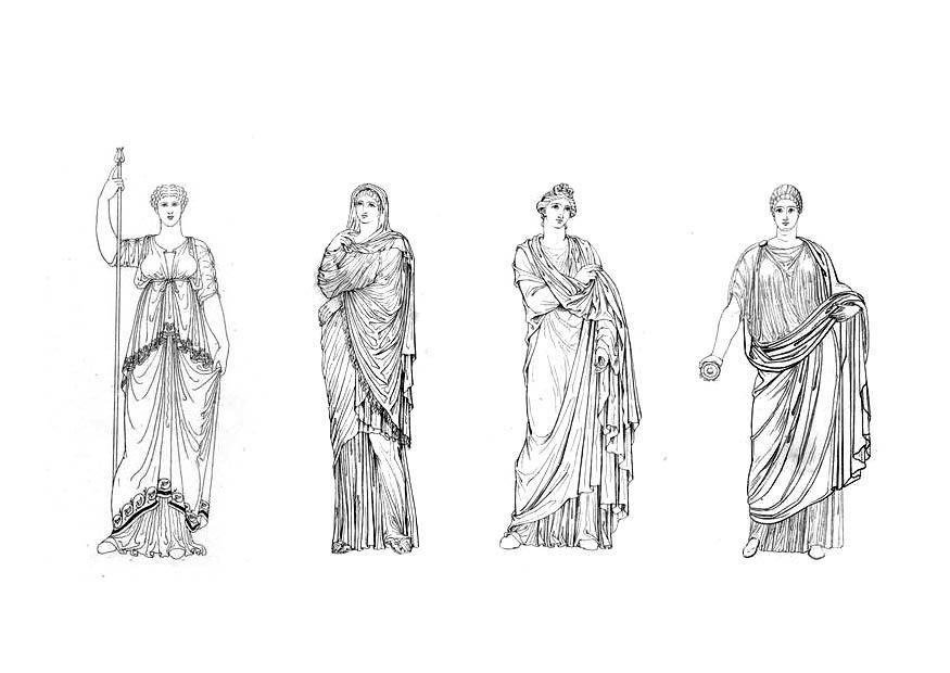 Kleurplaat Romeinse Vrouwen Afb 9425