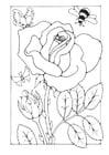 Kleurplaat roos met bij en vlinder