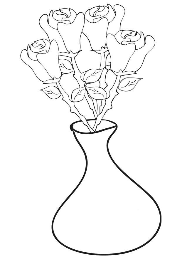 Kleurplaten Vaas Met Bloemen.Kleurplaat Rozen In Vaas Afb 21257