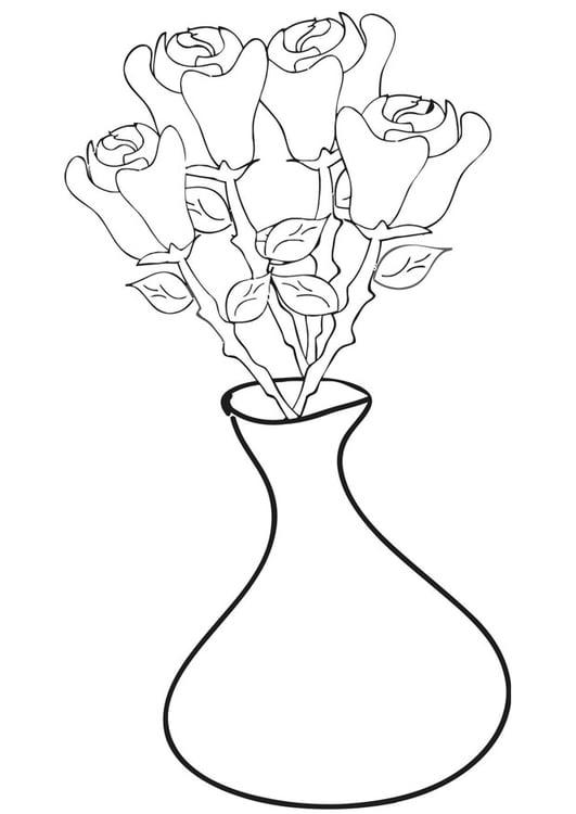 kleurplaat rozen in vaas gratis kleurplaten om te printen