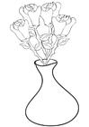 Kleurplaat rozen in vaas