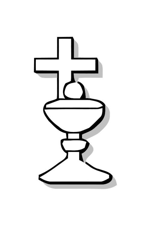 Kleurplaten Eucharistie.Kleurplaat Schaal Voor Brood Met Kruis Afb 10996