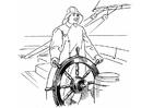 Kleurplaat schipper aan stuurwiel