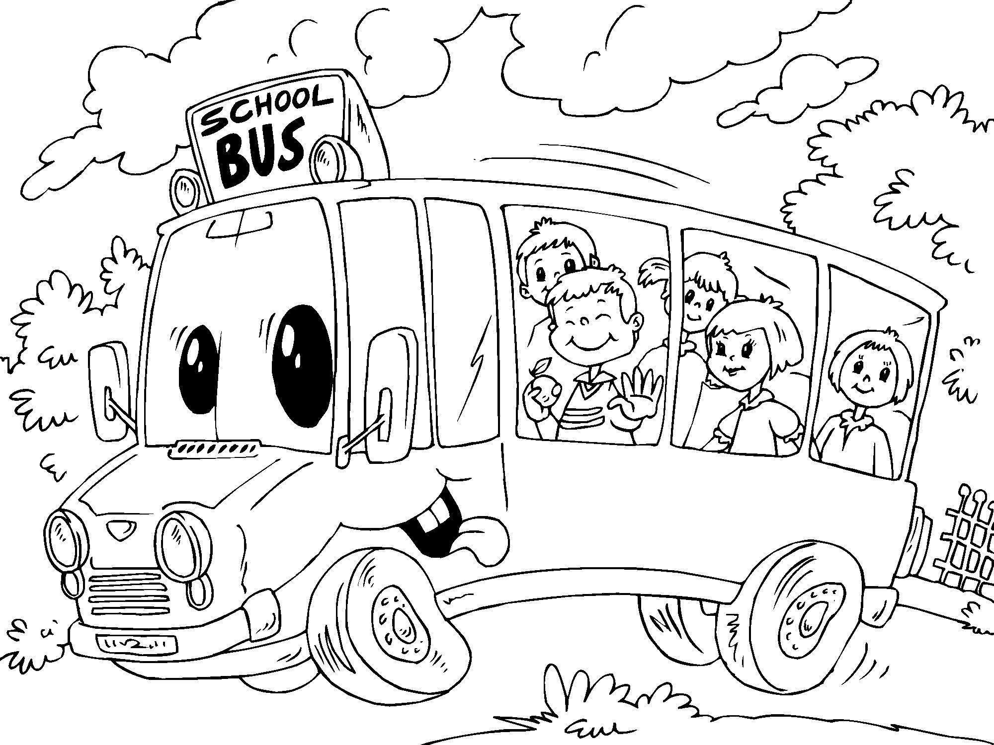 Kleurplaten Autobus.Kleurplaat Schoolbus Afb 22688