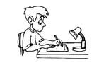 Kleurplaat schrijven - huiswerk