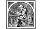 Kleurplaat schrijvende monnik