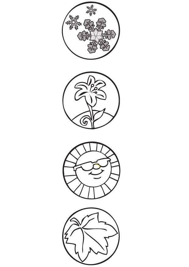 Kleurplaat Seizoen Symbolen Afb 9506