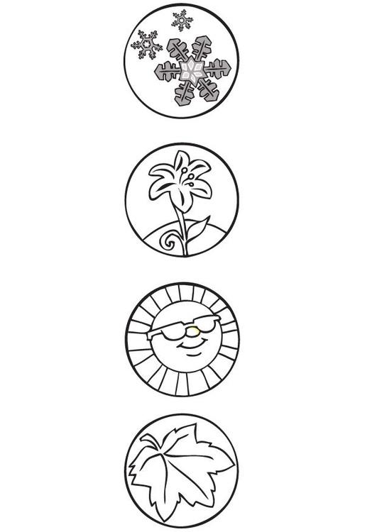 Kleurplaten Seizoen Winter.Kleurplaat Seizoen Symbolen Afb 9506 Images