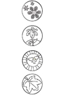 Kleurplaat seizoen symbolen
