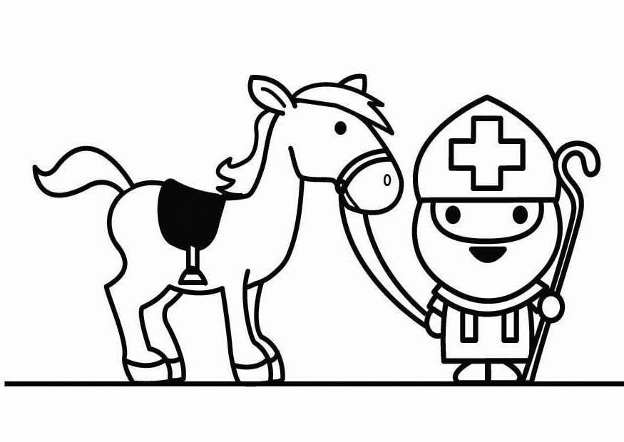 Google Kleurplaten Paarden.Kleurplaat Sint Met Paard Afb 26420