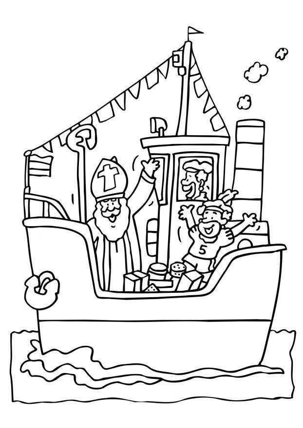 Kleurplaat Sint Op De Boot Afb 6544