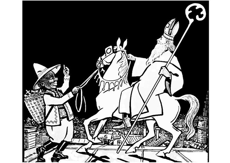 Kleurplaten Van Sinterklaas En Zwarte Piet.Kleurplaat Sinterklaas En Zwarte Piet Afb 20612 Images