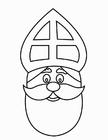 Kleurplaat Sinterklaas gezicht (2)
