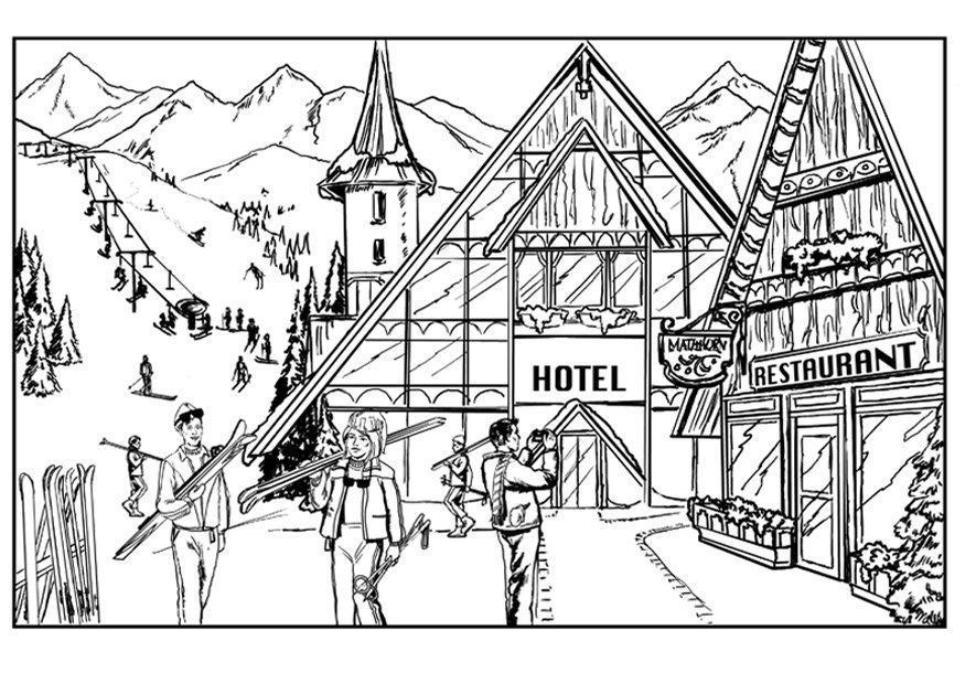 Kleurplaat Skien Chalet Afb 7561