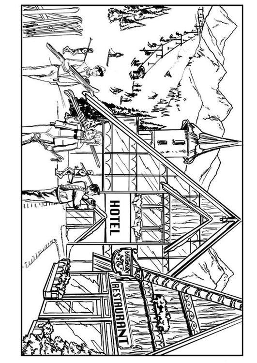 Kleurplaat Skien Chalet Afb 7579