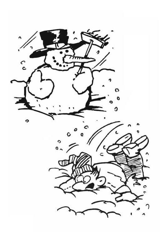 kleurplaat sneeuwman afb 12560