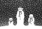 Kleurplaat sneeuwmannen