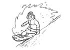 Kleurplaat snowboarden