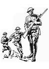 Kleurplaat soldaat WOI