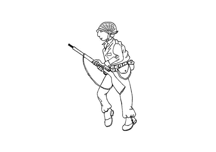 kleurplaat soldaat afb 9722
