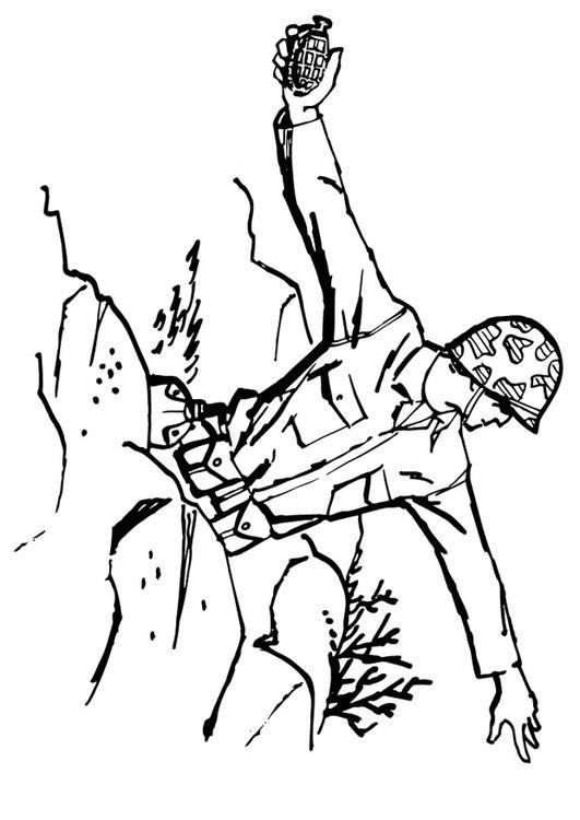 Kleurplaat Soldaat Gooit Granaat Afb 13288