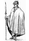 Kleurplaat soldaat met mantel