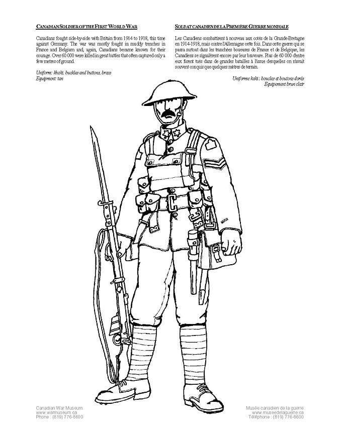 Kleurplaat soldaat wereldoorlog 1 afb 4262 - Dessin de soldat ...