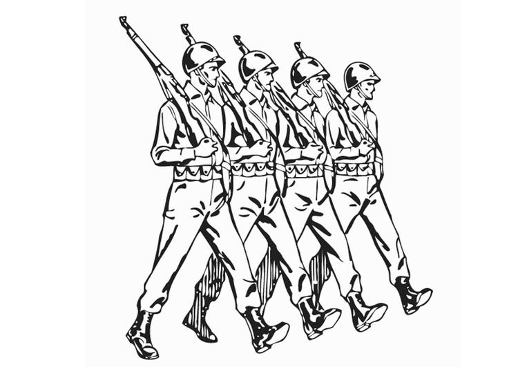 Kleurplaat Soldaten Afb 12907