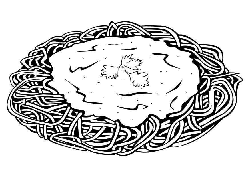 kleurplaat spaghetti afb 10359