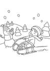 Kleurplaat spelen in de sneeuw