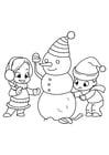 Kleurplaat spelen met sneeuwpop
