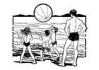 Kleurplaat spelen op het strand