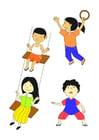 Kleurplaat spelende kinderen