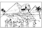 Kleurplaat sphinx en piramiden