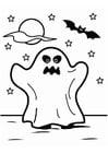 Kleurplaat spook Halloween