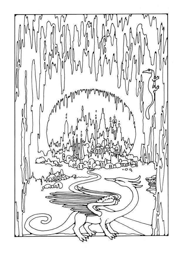 Kleurplaat stad in grot afb 25663 - Coloriage grotte ...