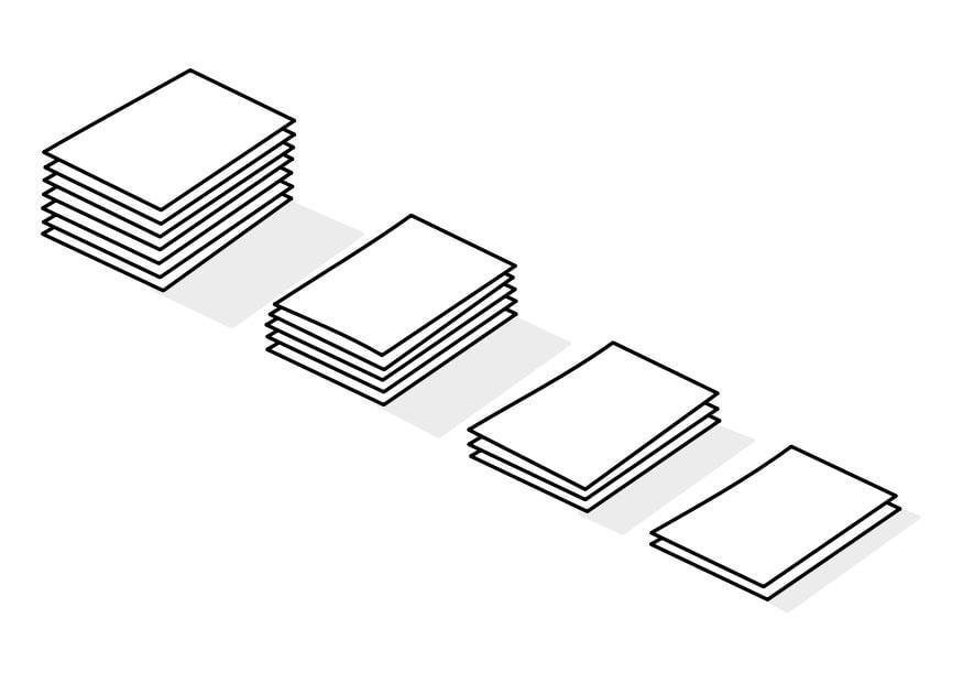 Kleurplaat stapels papier - Afb 22740.