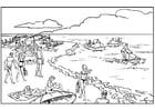 Kleurplaat strand en zee
