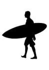 Kleurplaat surfer