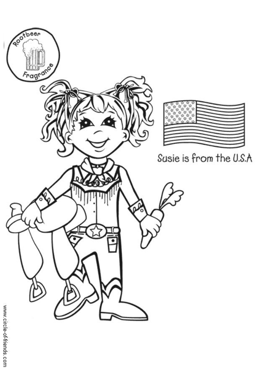 kleurplaat susie uit amerika met vlag gratis kleurplaten